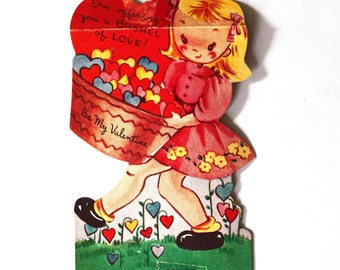 Vintage Valentine- 1940s/1950s Little Girl with Basket of Hearts Valentine Card