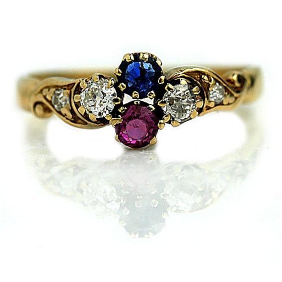 antique sapphire engagement ring blue pink sapphire vintage