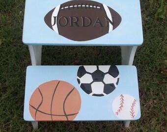 Sports Step stool, Kids Fiurniture,  Childs Step Stool, Personalized, Wooden Steps, Bathroom Stool, Nursery Decor
