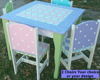 Wooden Kids Table and Chairs Set, Retiring all Table Sets,  Your choice mix and match 2 chairs choice  Kids and Baby Furniture