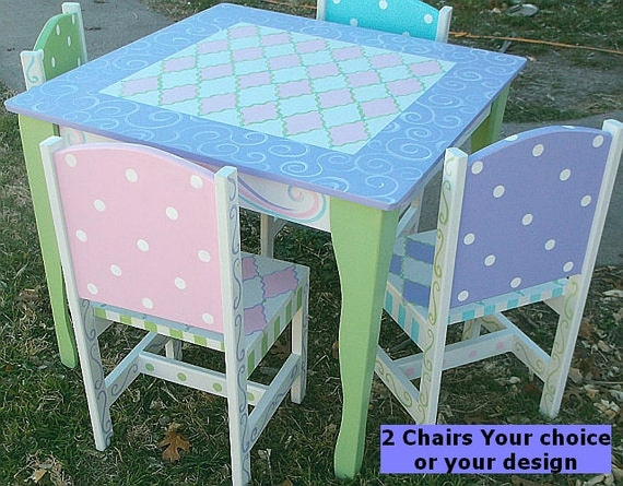 custom wooden childrens table and chairs your by spoiltrottn. Black Bedroom Furniture Sets. Home Design Ideas