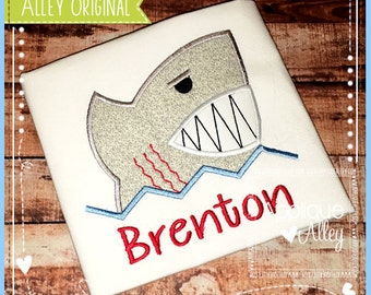 Mean Shark in the Water Digital Applique Design