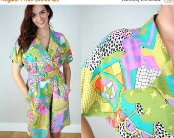 ON SALE Vintage 80s Jumpsuit with Bold Graphic Print