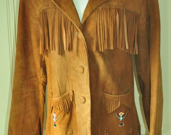 Pioneer Wear Beaded and Fringed Suede Jacket