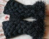 HAND KNITTED GLOVES / Women Accessories Fingerless Mittens Elegant Warm Wrist Warmers / Crochet Winter Cabled Romantic Gift Ideas Arm 607