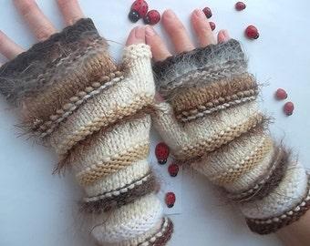 HAND KNITED GLOVES Women Accessories Fingerless Mittens Elegant Warm Wrist Warmers Arm  Crochet Winter Feminine Romantic Cabled Striped 1013
