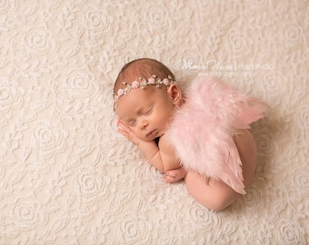 Pink Feather Wings and Headband, Rhinestone Headband and Wing Set, Baby Girl Photo Prop, Photography Prop, Newborn Photo Prop