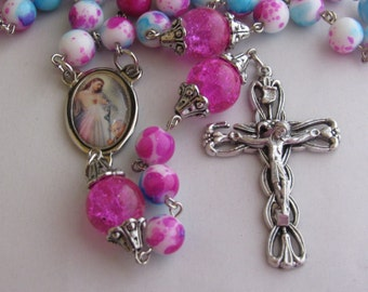 Multi Colored and Pink bead Rosary