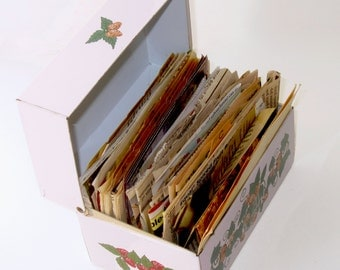 Vintage Strawberry Recipe Box Full of Recipes - Metal Recipe Box With Recipes - Made in USA