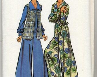 Vintage Wide-Leg Jumpsuit And Vest Sewing Pattern - Simplicity 5970 - Size 16 1/2 - Bust 39 - UNCUT