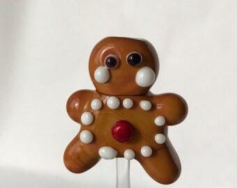 Gingerbread Man-Christmas cookie Lamp work glass bead-HANDMADE-SRA-OOAK