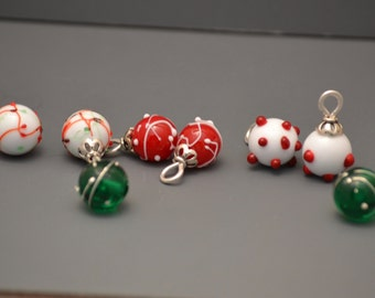 Christmas Holiday Lampwork Glass charms Handmade-sold by the pair