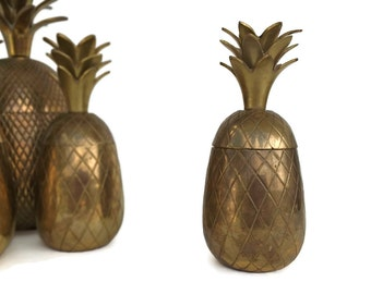 "Vintage 6.5"" Brass Pineapple Container Hollywood Regency Brass Decor Brass Pineapple Box Candleholder Retro Decor"