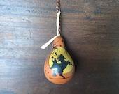 Halloween Headless Horseman Vintage Style Dried Gourd Ornament Ornie Hand Painted Folk Primitive