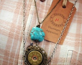 Long Turquoise cut Bullet necklace rustic country cowgirl ammo bullet jewelry shotgun shell 12 gauge Jo'ellie boutique handcrafted boho