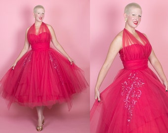 JAW-DROPPING 1950s New Look Jewel-Toned Rich Magenta Ruched Tulle Over Satin Illusion Halter Party Dress w/ Hand Sequined Embellishments - M