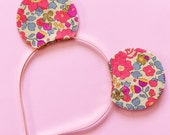 Mouse Ears Headband for little girls, Neon and Neutral Liberty of London Fabric, Reversible with Gold Glitter, giddyupandgrow
