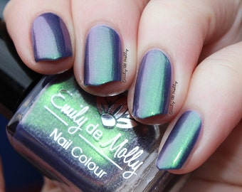 "Nail polish - ""From out of Nowhere"" Dark green/pink shimmer polish"