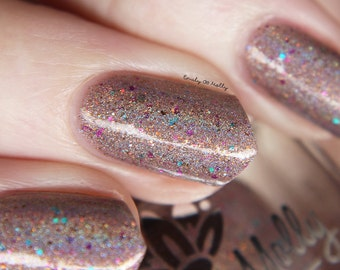 "Nail polish - ""Sweet Jumps"" Light brown linear holographic polish with flakies and glitter"