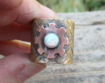 Opal Mixed Metal Ring - Size 8 3/4