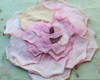 "Giant 10"" vintage gorgeous millinery flower rose bloom plum pink hat trim flapper cloche bonnet regency wired stems"