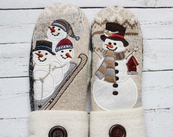 sweater mittens, recycled sweater mittens, miracle mittens, women's mittens, felted wool mittens, handmade mittens, fun snowman mittens