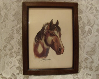 Vintage Wood Framed Picture of Pinto Horse by Sharon Blaine