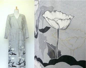 FALL SALE 15% OFF Vintage 80s 90s long grey dress floral border print textured Asian (medium)