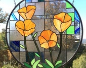 "California Poppies over Geometric Circle 1 & 2 -  Two 20.5 x 20.5"" Stained glass windows"