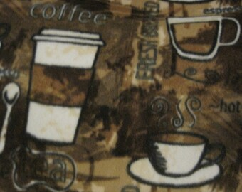 Coffee Cups, Containers, Spoons Fleece Blanket - Ready to Ship Now