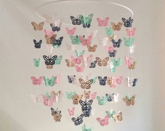 Pink Navy Gold Mint Butterfly Nursery Baby Mobile Colorful Bright Butterfly Mobile 14 inch  ANY colors ANY Size