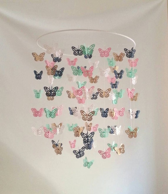 Pink Mint And Gold Nursery: Pink Navy Gold Mint Butterfly Nursery Baby Mobile Colorful