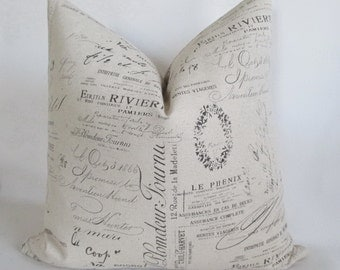 Pillow Cover French Script Paris Both Sides Sepia Zipper