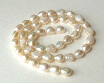 White Baroque Pearls, Baroque Pear Freshwater Pearls - Half Strand - 12x8mm  -  (m45b)