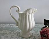 RESERVED for Deb - Vintage Small Ivory Porcelain Cream Pitcher by I. Godinger  - Cottage Chic Kitchen - Ivory White Creamer - Kitchen Decor