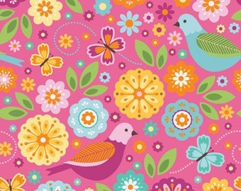Pink Aqua Green and Yellow Bird and Floral Flannel, Summer Song 2 By Zoe Pearn for Riley Blake, Main Print in Pink, 1 Yard