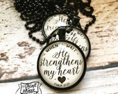 when i wait He strengthens my heart (psalm 27:14) necklace [black limited edition]