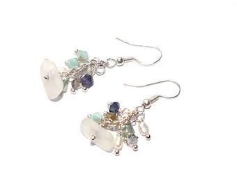 Sea Glass Earrings -  Crystal Beach Earrings -  Pierced Earrings - FREE Shipping inside the United States