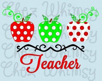 Teacher SVG, School SVG, Apples Svg, Polka Dot Apples, Apples for Teachers, Back to School, Teacher Cutting Files