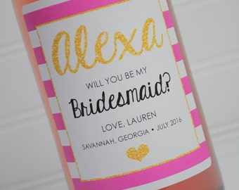 Bridesmaid Wine Labels - Bridal Party Gift Wine Bottle Labels - Wedding Wine Label - Kate Spade Inspired Pink Black and Gold - Set of 4