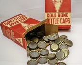 2 Boxes of Gold Bond Bottle Caps - Metal caps - Soda caps - Advertising - One gross box - Jewelry supply - art supply - cheesegrits