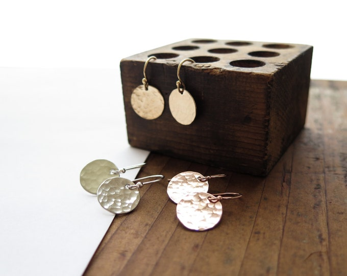 Simple Hammered Minimal Dainty Rustic Disc Earrings in 14k Gold Fill, Rose Gold Fill, or Sterling Silver