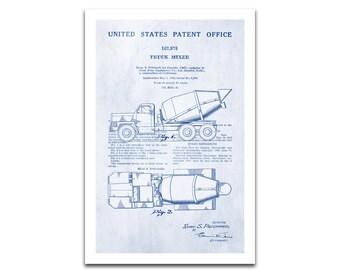 Cement Mixer Truck Patent Art Giclee on archival matte paper