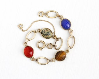 Vintage 12k Yellow Gold Filled Colorful Scarab Panel Bracelet - Retro Carved Beetle Bug Tiger's Eye Gem Egyptian Revival Good Luck Jewelry