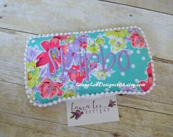 READY TO SHIP, Polka Dot Floral on Aqua Travel Baby Wipe Case, Diaper Wipe Case, Baby Shower Gift, Wipe Holder, Flower Wipe Clutch, Monogram