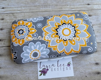 Yellow and Gray Floral Boutique Style Travel Baby Wipe Case, Diaper Wipe Case, Wet Wipe Case, Personalized Wipe Case, Flower Wipe Case