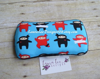 Red and Black Ninjas on Blue, Travel Wipe Case, Baby Wipe Case, Personalized Wipe Case, Personalized Case, Diaper Wipe Case, Wipe Holder