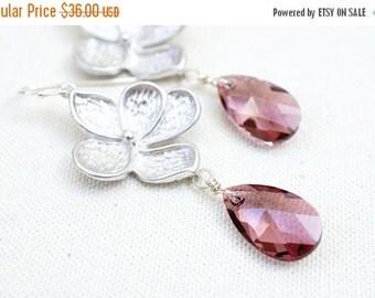 15OFFSALE Earrings, Flower Earrings, Pink Earrings, Silver Earrings, Crystal Earrings, Cherry Blossom, Swarovski Crystal, Antique Pink, No.