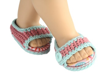 "Download Now - CROCHET PATTERN 18"" Doll Summer Splash Sandals"