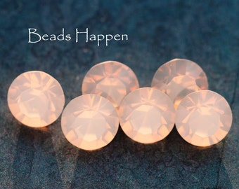39ss Rose Opal Rosewater Opal Chatons, 39ss Rhinestones, Round Glass Stones, Rose PinkOpal Chatons, Quantity 6